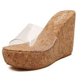 Wholesale Nude Wedges Sandals - 2017 New Summer Transparent Platform Wedges Sandals Women Fashion High Heels Female Summer Shoes Size 35-39 B