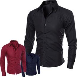 Wholesale Cheap Fitted Shirts Men - Wholesale- 2017 Spring Fashion Cheap Mens Dress Shirts Slim Fit Long Sleeve Plus Size Men Shirt 5XL