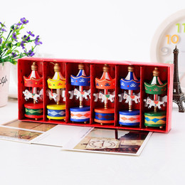 Wholesale Wood Ornament Craft - Merry Christmas Wood Carousel Horse Ornaments Mini Beautiful Wooden Xmas Children Gift Toys New Year Christmas Gifts Crafts
