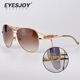 Wholesale Womens Leopard Sunglasses - Diamonds Leopard Brand Sunglasses Excellent quality Metal Frame Glasses Mens Womens Designer Sunglasses with Sun Glasses Box CT6125206