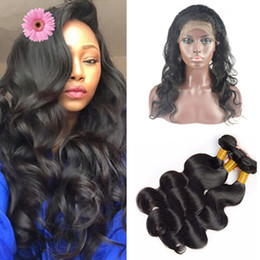 Wholesale 4x4 Lace Frontal - Pre Plucked Silk Base 360 Lace Frontal With Bundles 9A Brazilian Body Wave Virgin Human Hair With Silk Top 4x4'' Lace Band Closure