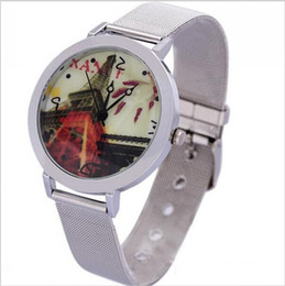 Wholesale Wrist Watch Made China - New 2016 China Made Fashion Eiffel Tower Pattern Wrist Watch Stainless Steel Wristwatches For Women and Men Best Gifts Free Shipping
