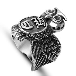 Wholesale Mixed Owl Order - Hot Sale Domineering Gothic Titanium Casting Owl Ring Jewelry Gift Size 6 7 8 9 10 11 12 Mix Order