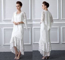 Wholesale double color gowns - 2 Pieces Formal Lace Mother Of the Bride Suits Long sleeves Sheath High Low Plus Size Mother Dress With Coat Evening Gowns Cheap