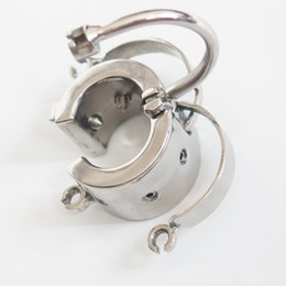 Wholesale Locking Ball Stretcher Cbt - Scrotum separation fixture Stainless Steel Chastity Device Scrotum Restraint Weight 450g Device Spike Ball Stretcher Locking Cock Rings CBT