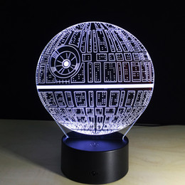 Wholesale Christmas Tree Night Lights - 2017 Death Star 3D Optical Illusion Lamp Night Light DC 5V USB Charging AA Battery Wholesale Dropshipping Free Shipping