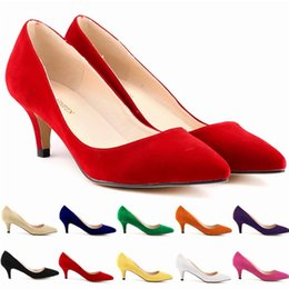 Wholesale Womens Sexy White Heels - Chaussure Femme Zapatos Mujer Womens Faux Velve Flock Party Platform Pumps Low Heels Sexy Party Shoes Women US Size 4-11 D0060