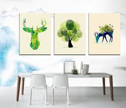 Pequeño pulgar fresco pintado árbol de venado Moderno pintura al óleo abstracta en la decoración del hogar sin marco SIRILI arte lona Wall Art desde fabricantes