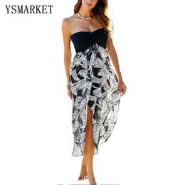 Wholesale Sexy Womens Tube Tops - Summer Irregular Beach Dress Black White Printed Tunic Beach Cover Up 2017 New Womens Sexy Tube Top High Waist Beachwear Q42159