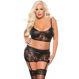 Wholesale Black Garter Straps Set - Sexy Women Black Leather Lingerie Set Faux Vinyl Lace Floral Patchwork Strap Bra See Through Garters Underwear Plus Size 6XL W870475