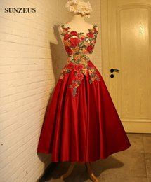 Wholesale Tea Length Dresses Stock - Tea Length Satin Prom Dresses Short Party Gowns Embroidery Flowers Sexy Graduation Dress Lace-up Back New Stock