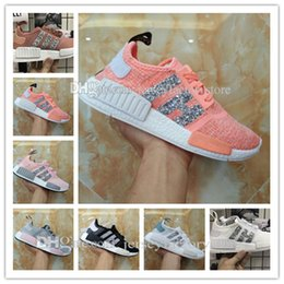 Wholesale Pink Sequin Lace Fabric - NMD R1 Primeknit Tri color Pink Black Triple OG Running Mens Shoes Nmds Runner Primeknit Sneakers Originals Classic Casual Shoes Sequins