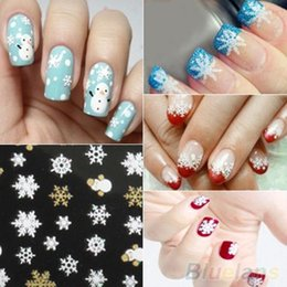 Wholesale Nail Stickers Girls - Wholesale- Snowflakes Snowman 3D Nail Art Stickers Decals Girl Fingernail Accessories 1P85