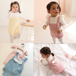 Wholesale Knitting Clothes For Babies - 2017 Spring and autumn New Baby Rompers Bebe Climbing Suit Clothes knitting Clothing With Angel Wings for Newborn to 3years baby