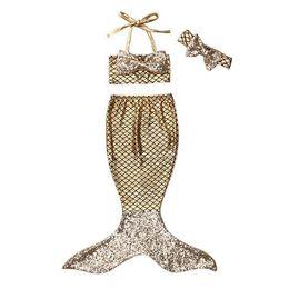 Wholesale Tankini Skirted Swimsuit - Kids Girls Bikini Swimwear Baby Girls Mermaid Swimsuit Toddler Headband + Top + Skirt 3pcs Set 2017 Summer Princess Bathing Tankini Swimwear