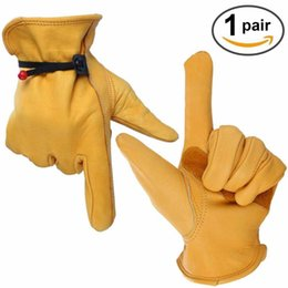 Wholesale Driver Gloves For Men - FBA Custom Logo Drop Shipping New Cowhide Men's Work Driver Gloves Magic rope Leather Security Wear Safety Workers Moto Warm Gloves For Men