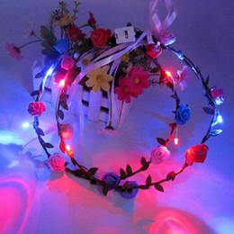 Wholesale Led Headbands Light Up - LED Flashing Rose Flower Festival Headband Veil Wedding Light-Up Floral Garland Hairband Daughter Best Gift