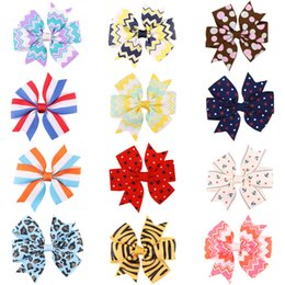 "Wholesale Chevron Accessories - Geometric print hairbow   3"" bow for girl  lepoard   star  stripe  chevron print hair accessory"