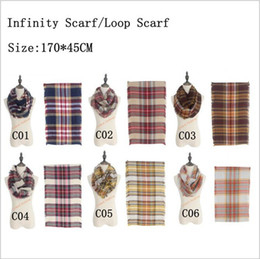 Wholesale Oversized Fashion Rings Wholesale - Plaids Infinity Scarves Grid Loop Scarf Blankets Women Tartan Oversized Check Shawl Lattice Wraps Fashion Fringed Cashmere Pashmina B2282