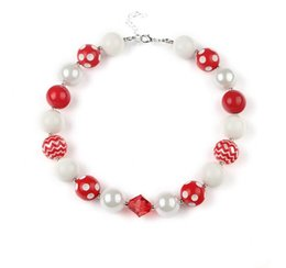 Wholesale Halloween Bubblegum Necklace - New arrival wholesale 8pcs lot Halloween chunky beads necklace,bubblegum necklace,white red ,red polka dot Children necklace