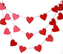 Wholesale Hearts Garland - 1M Paper Garland Banner Bunting Drop Hanging Photo Booth Props Handmade Crafts Baby Shower Wedding Party Home Decor Event Decoration HEART