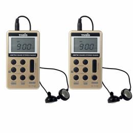 Wholesale Earphone Pocket - Wholesale-2pcs TIVDIO V-112 Mini Pocket Radio FM AM 2 Band Radio Station Multiband Radio Receiver Rechargeable Battery&Earphone Best F9202
