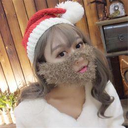 Wholesale Mustache Mask Face Warmer Ski - Christmas Warm Mask Hats Men Women Cap Santa Claus Beard Beanies Sports Mustache Face Knitted Winter Ski Beard Church Hats DHL Free