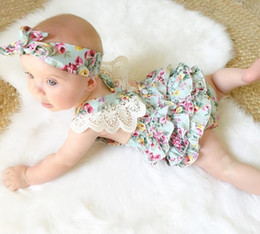 Wholesale Toddler Lace Headbands - Ins Baby Girl Romper Infant Summer Ruffled Lace Onesies+Headband Jumpsuit Sleeveless Clothes Toddler Girls babies Rompers Backless Roupas