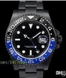 Stahllieferanten online-2016 Mens Luxury Supplier Top Qualität Herren II Schwarz Blau Keramik Lünette 116710LN 116710 Automatische edelstahl Schwarz PVD Herrenuhren.