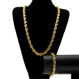 Wholesale Titanium Twisted Sports Necklace - hIP HOP top Quality 18k gold Plated Stainless Steel Rope Chain Necklace Bracelet Rock Jewelr sets for men women 80cm long 6.8mm 10mm