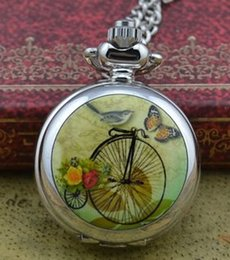 Wholesale High Fashion Pocket Watches - Wholesale-retro new silver cute colorful high wheel fashion women pocket watch necklace hour clock with chain wholesale price antibrittle