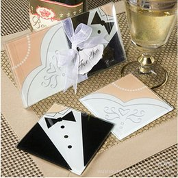 Wholesale Coaster Bride - Wholesale Creative Wedding Gifts Bride And Groom Dress Glass Coasters Wedding Favors 200pcs=100sets,Free Shipping