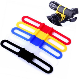 Wholesale Cycling Head Torch - Bike Light Holder Bicycle Handlebar Silicone Strap Band Phone Fixing Elastic Tie Rope Cycle Bicicleta Torch Flashlight Bandages