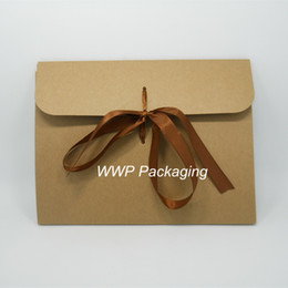 Wholesale Handkerchief Boxes Wholesale - Wholesale-DHL 24*18+0.7cm 60Pcs  Lot Craft Paper Party Packing Pocket Box Package Kraft Paper Envelope Boxes For Handkerchief Tie