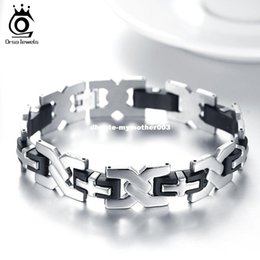 Wholesale Chain Link Inserts - ORSA JEWELS Metal Cross Inserted Silicone Design Gentle Charming Stainless Steel Men's Bracelet for Lovers 22 CM GTB11
