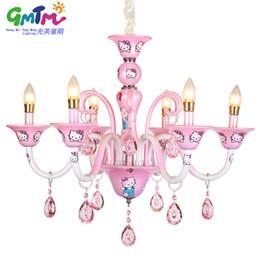 Wholesale Design Vintage Bulbs - GMTM New design Modern Little Girl living room chandelier bedroom lamp lighting pink Hello Kitty crystal lustre E14 candle bulb