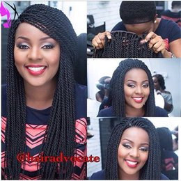 Wholesale African Black Baby - Stock hand tied Micro braided lace front wigs for african american kinky twist wig braiding synthetic wigs with baby hair
