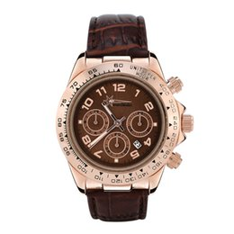 Wholesale Diving China Watches - wealthstar Brand Watch Women's Watches Leather gold Dial Imitation Ceramics Bezel Steel brown dress Dive Quartz watches china Sports Watch