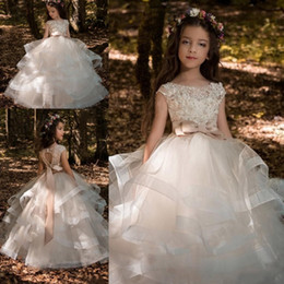 Wholesale Little Girls Tulle Skirts - Tiered Skirts Flower Girls Dresses For Weddings 2018 Lace Appliqued Little Kids First Communion Dress With Bow Sash Girls Pageant Dress