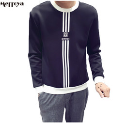 Wholesale Stripe Long Sleeve Top - Wholesale-Men's Long Sleeve Sweatshirt Contrast Color Stripe Fashion Youth Crew Neck Tops Boy's Top