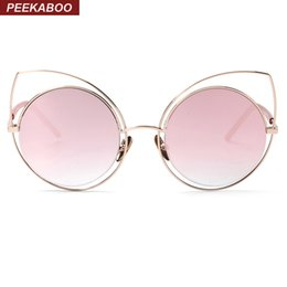 Wholesale Frame Out Mirror - Wholesale-Peekaboo New 2016 brand womens round lens cat eye fashion sunglasses pink blue mirror metal frame sun glasses female hollow out