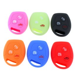 Wholesale Car Suits - 6 Colors 3 Buttons Round Silicone Car Key Case for Ford Series Focus Mondeo Festiva Fusion Suit Fiesta   KA CIA_409