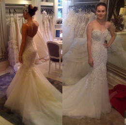 best sweetheart appliqued lace wedding dress - 2017 Sexy Mermaid Wedding Dresses With Sweetheart Neckline Puffy Tulle Skirt Nice Appliqued Cathedral Train Bridal Gowns vestido de noiva