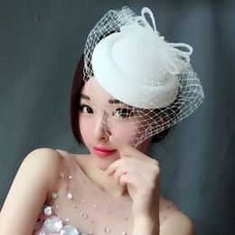 Wholesale Rice Hats - Woman headdress hair The bride's rice, white and black hat, ancient restoration, lace, bow tie, pearl mask, small hat, photo album, headdres