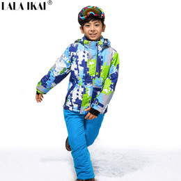 Wholesale Children Ski Suit - Wholesale- Winter Ski Suit Teenage Snowboard Skiing Clothing Set Boys Children Windproof Waterproof Ski Jackets+Pants Ski Suit HMP0002-5