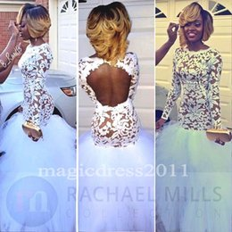 Wholesale Navy Tutu Dress Girls - Black Girl Prom 2K17 White Lace Prom Evening Dresses Mermaid Jewel Illusion Bodice Long Sleeves Tutu skirt Celebrity Gowns for Party Cheap