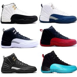 Wholesale Red Mid Shoes - hot new 12 Basketball Shoes OVO White TAXI Flu Game gamma blue Playoff flint French blue Cool Grey 12 classic Men Women Seankers