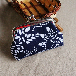 Wholesale Unisex Changing Bags - 50pcs Fashion Hot Vintage ethnic style flower coin purse canvas key holder wallet hasp small gifts change bag clutch handbag xmas present