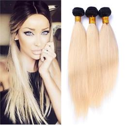 Wholesale 18 Platinum Blonde Hair Extensions - 8A Ombre 613 Brazilian Virgin Hair 3 Bundles Straight Platinum Blonde Dark Roots Ombre Human Hair Extension Wholesale Price Remy Hair