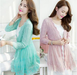 Wholesale Thin Fashion Shirts Wholesale Women - Wholesale- Spring new women's V-neck long style hollow lace sweater knit cardigan coat female womens thin coat air-conditioned shirt
